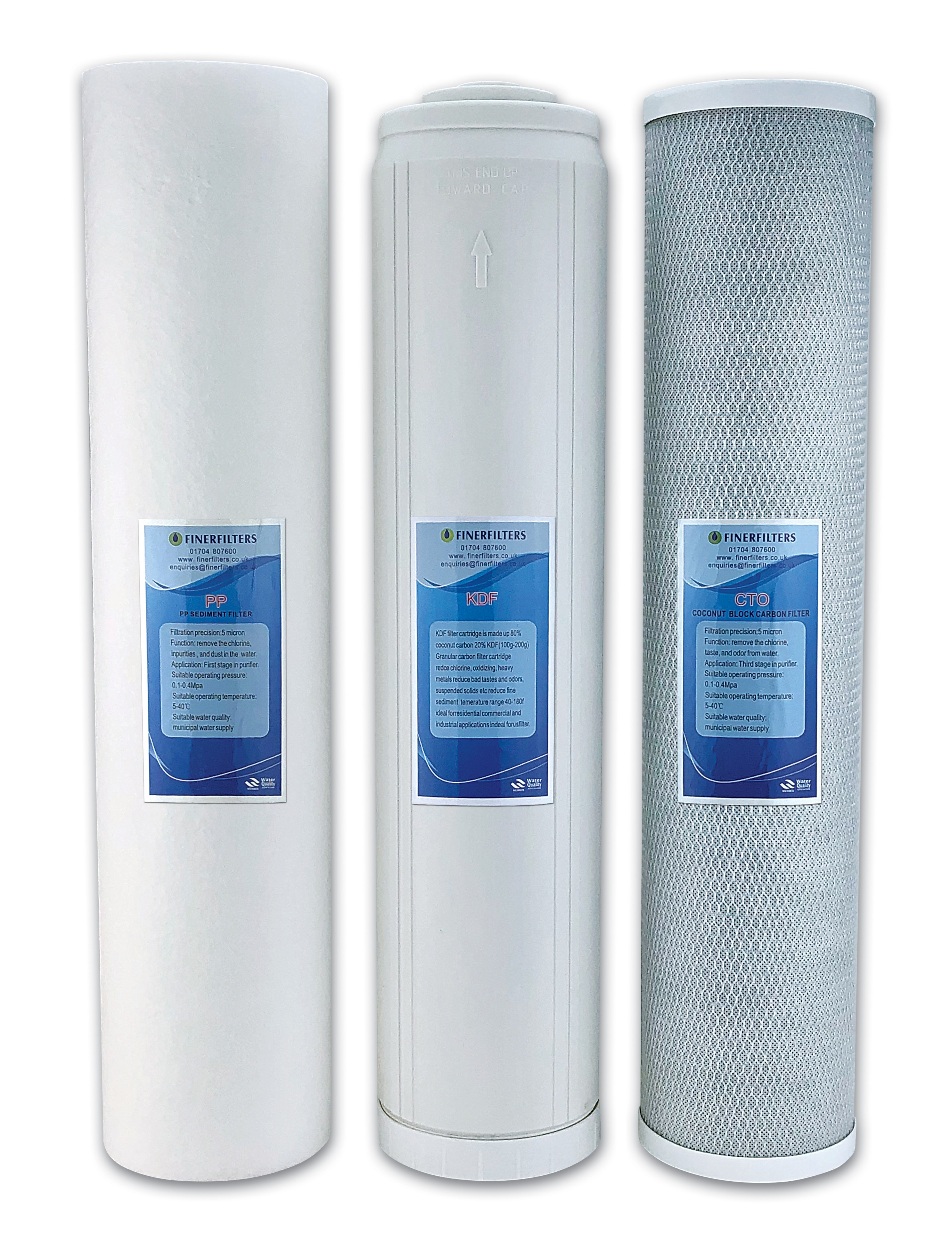 """Finerfilters 20"""" Jumbo HMA Heavy Metal Removal Replacement Filter Pack – PP, GAC/KDF, CTO"""