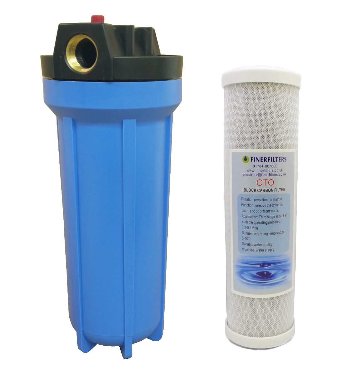 """10"""" Standard Blue Water Filter Housing with 3/4"""" Ports, PRV & 5 Micron Carbon Block Filter"""