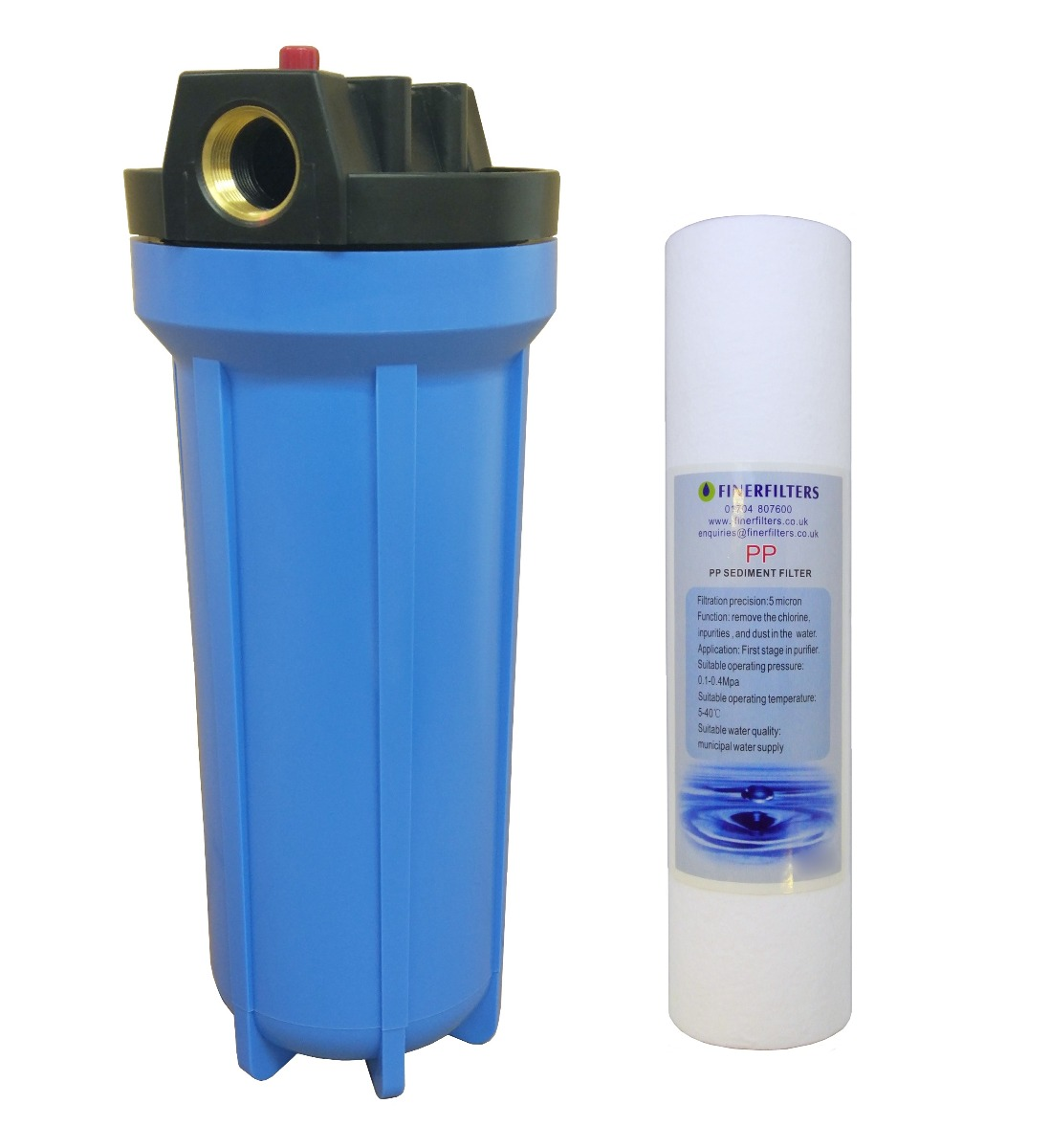"10"" Standard Blue Water Filter Housing with 3/4"" Ports, PRV & 5 Micron Sediment Filter"
