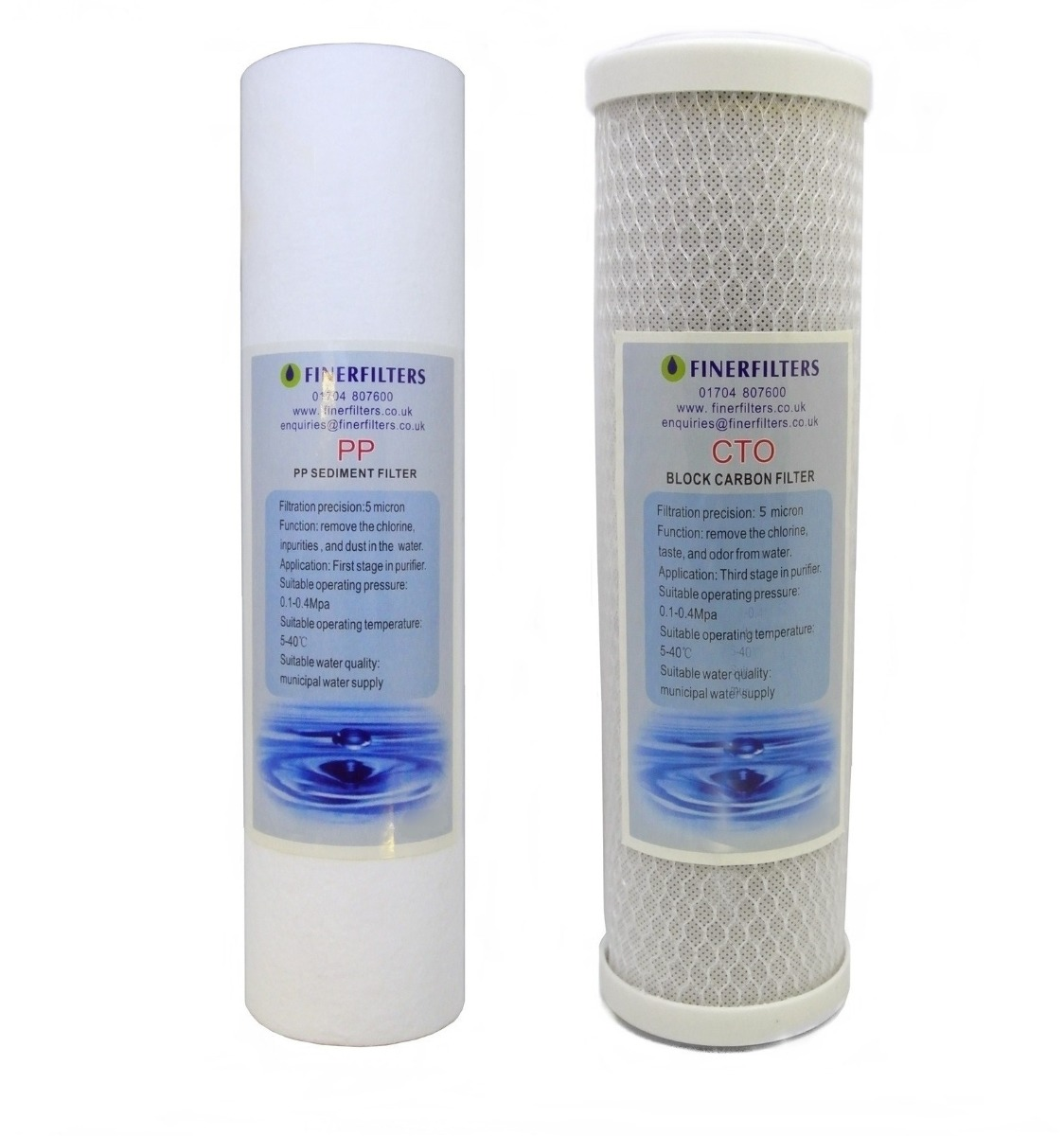 Reverse Osmosis Replacement Filter Pack - 1 Micron Sediment & 5 Micron Carbon Block Filters