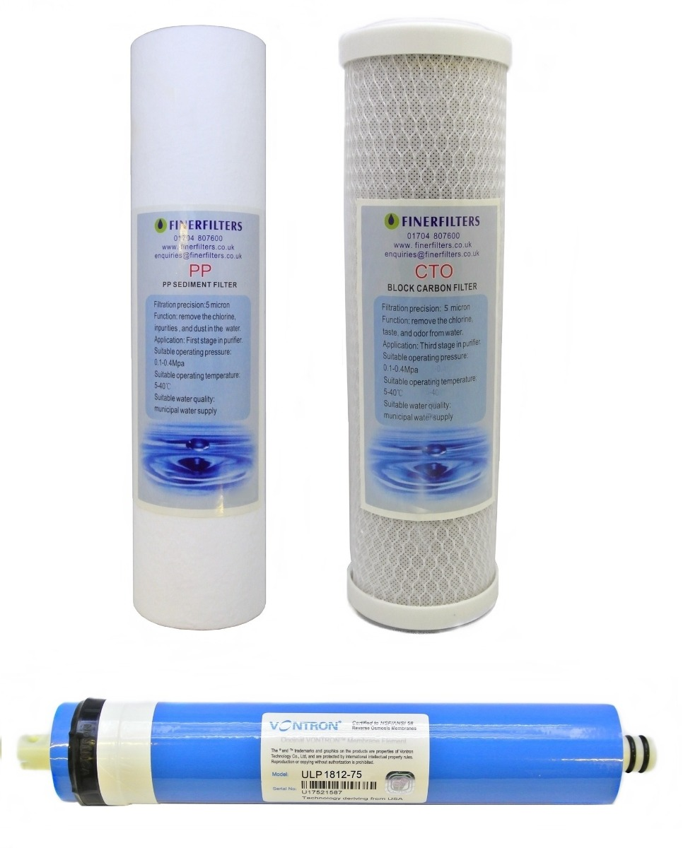 """3 Stage 75 GPD Aquarium Reverse Osmosis 10"""" Drop In Replacement Water Filter Pack (PP & CTO) by Finerfilters"""