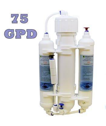3 Stage Compact Aquarium Reverse Osmosis 75 GPD Unit for Tropical, Marine & Discus Fish