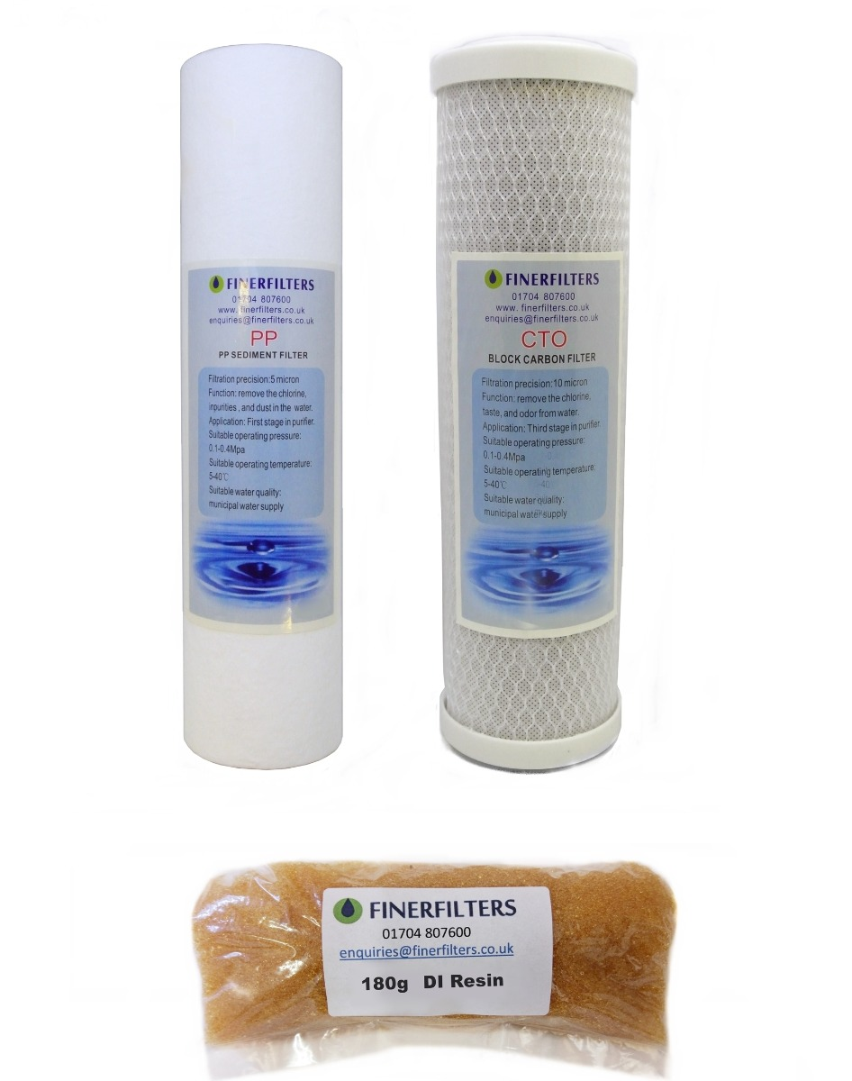 """4 Stage Aquarium Reverse Osmosis 10"""" Drop In Replacement Water Filters & 180g DI Resin by Finerfilters"""