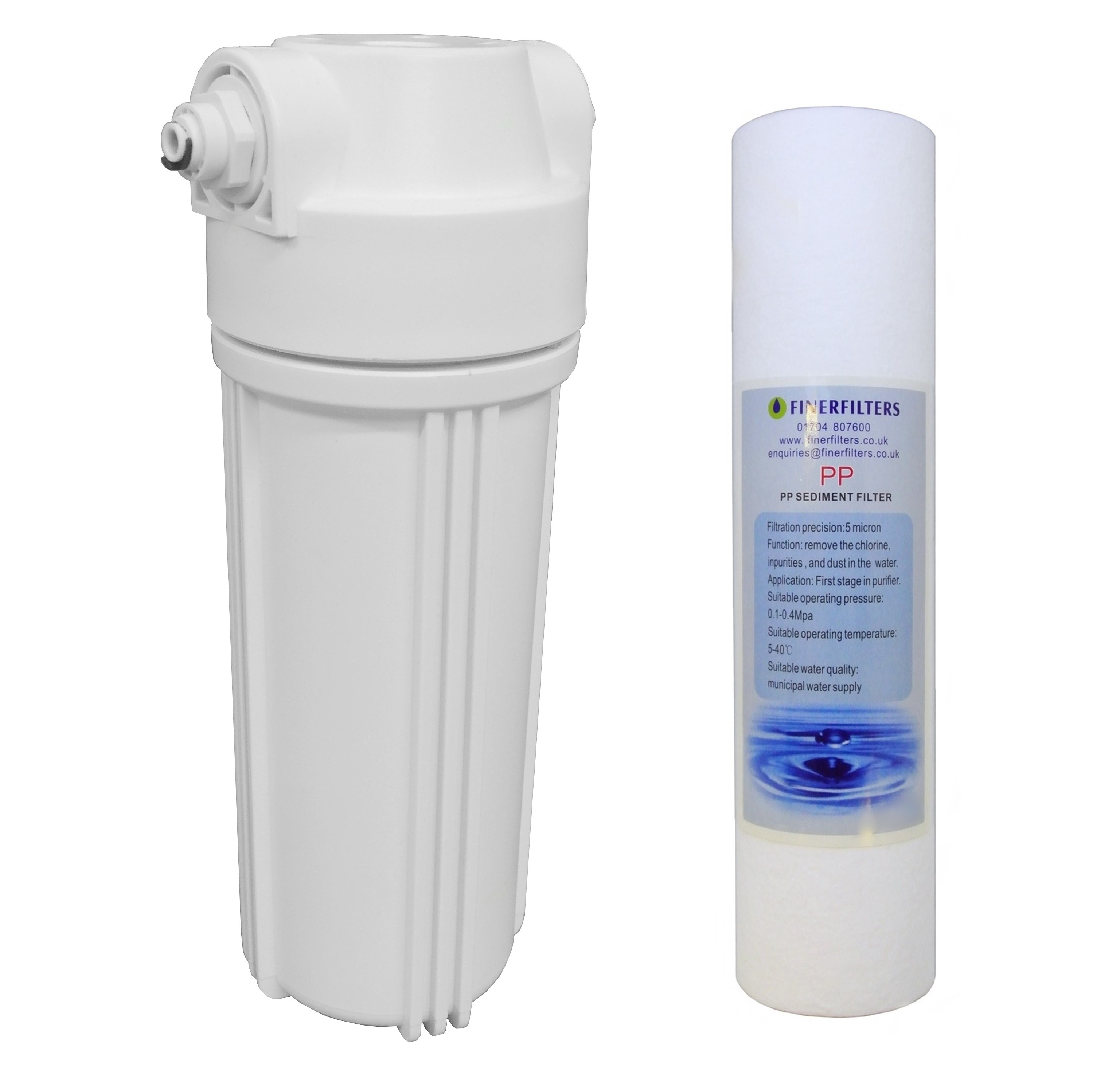 """10"""" Standard Clear Filter Housing with 1/2"""" Female ports (Fittings incl for ¼"""" PF) and Sediment Filter"""