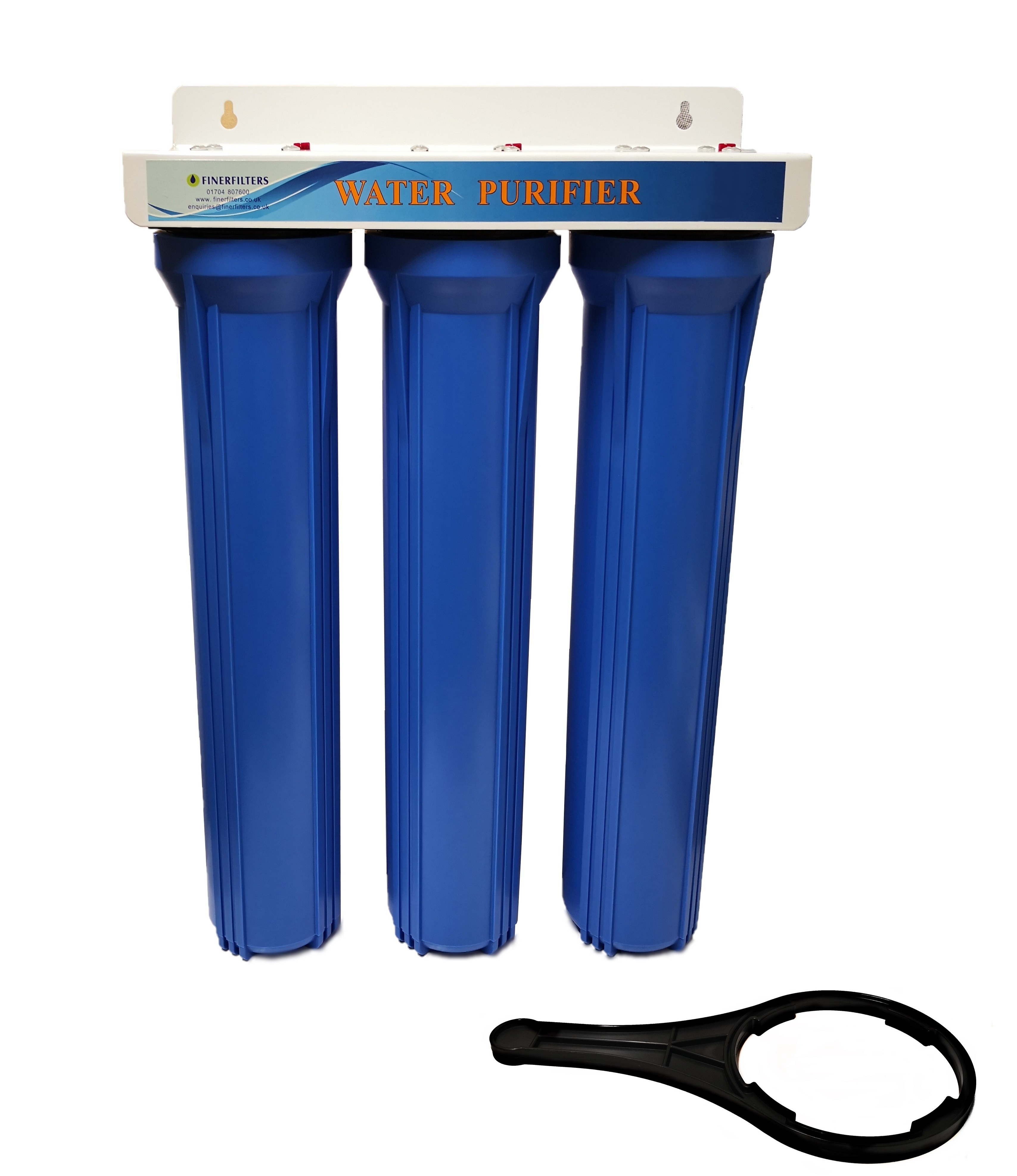 """Finerfilters 20"""" Standard Dechlorinator Triple Water Filter Housing with PP + GAC + CTO with Hozelock Type Connections"""