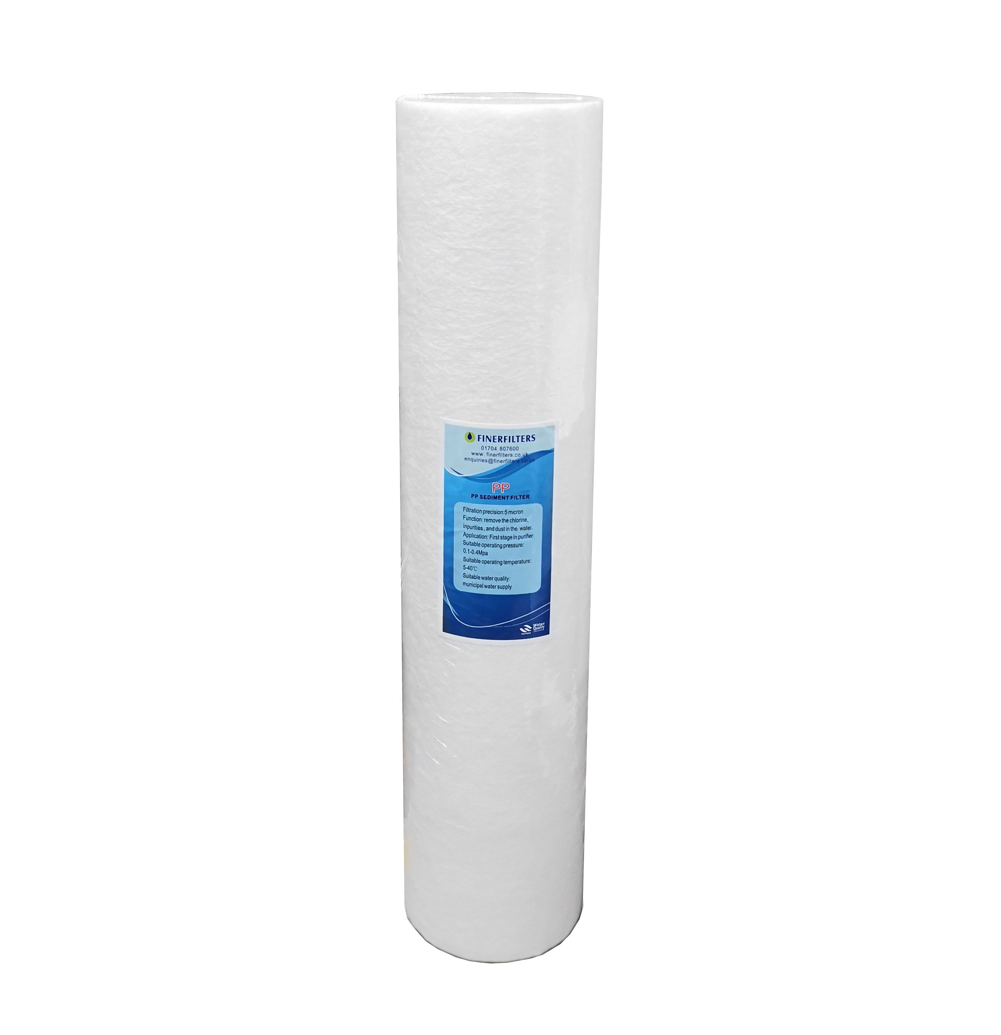 "Finerfilters 20"" x 4.5"" Jumbo Sediment Filter - 5 Micron Spun Polypropylene"