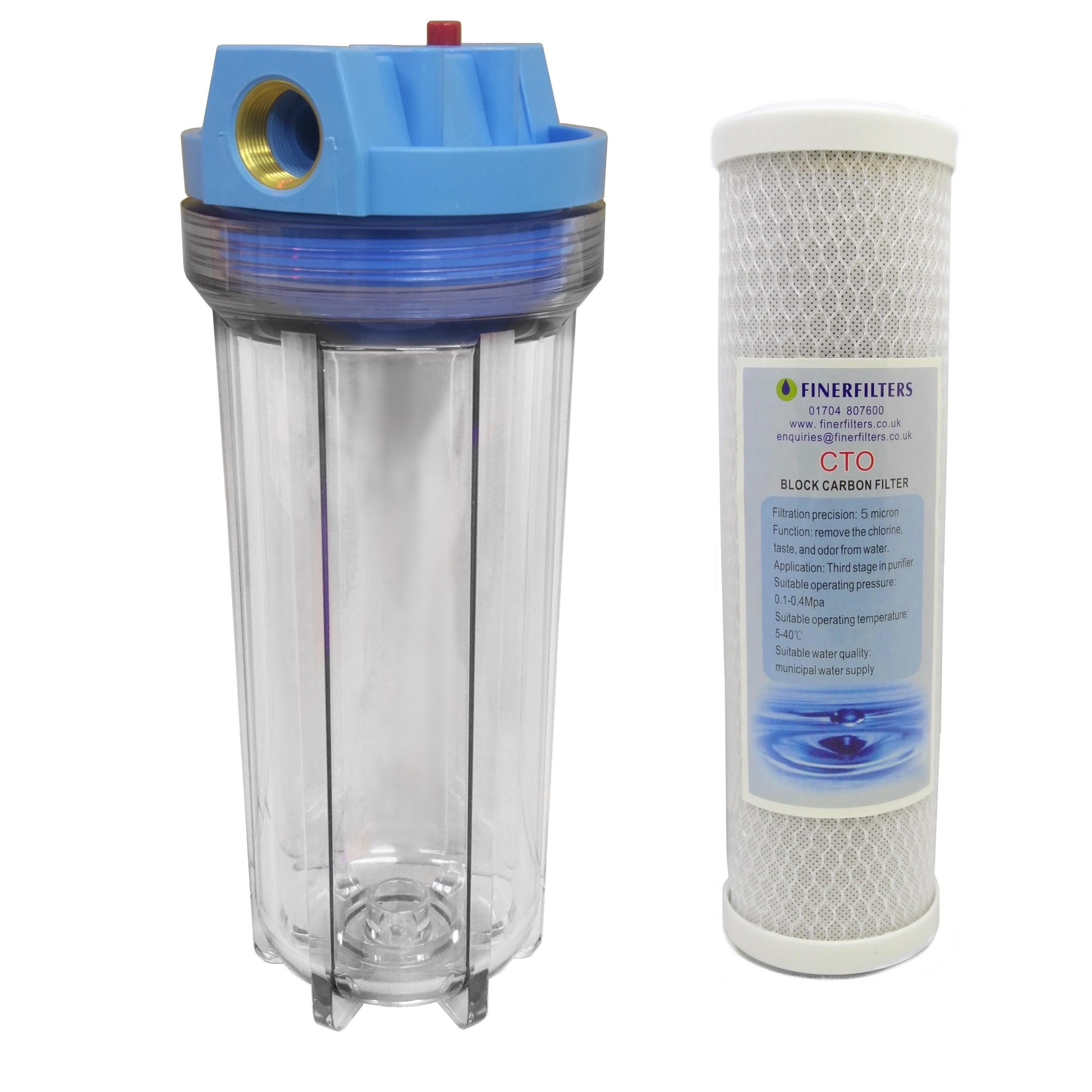 """10"""" Standard Filter Clear Housing with 3/4"""" ports, Pressure Reducing Valve and Carbon Block Filter"""
