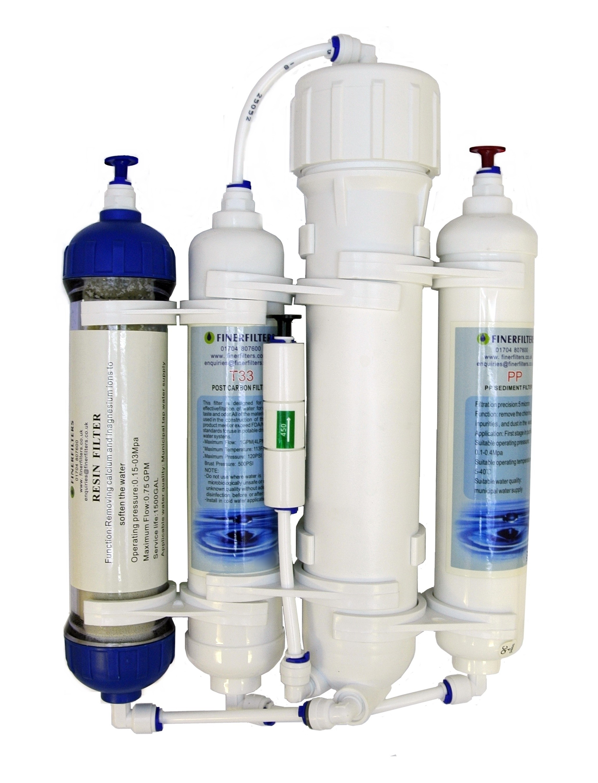4 Stage Compact Aquarium Reverse Osmosis 100 GPD Unit with Inline DI Chamber for Tropical Fish, Marine & Discus by Finerfilters