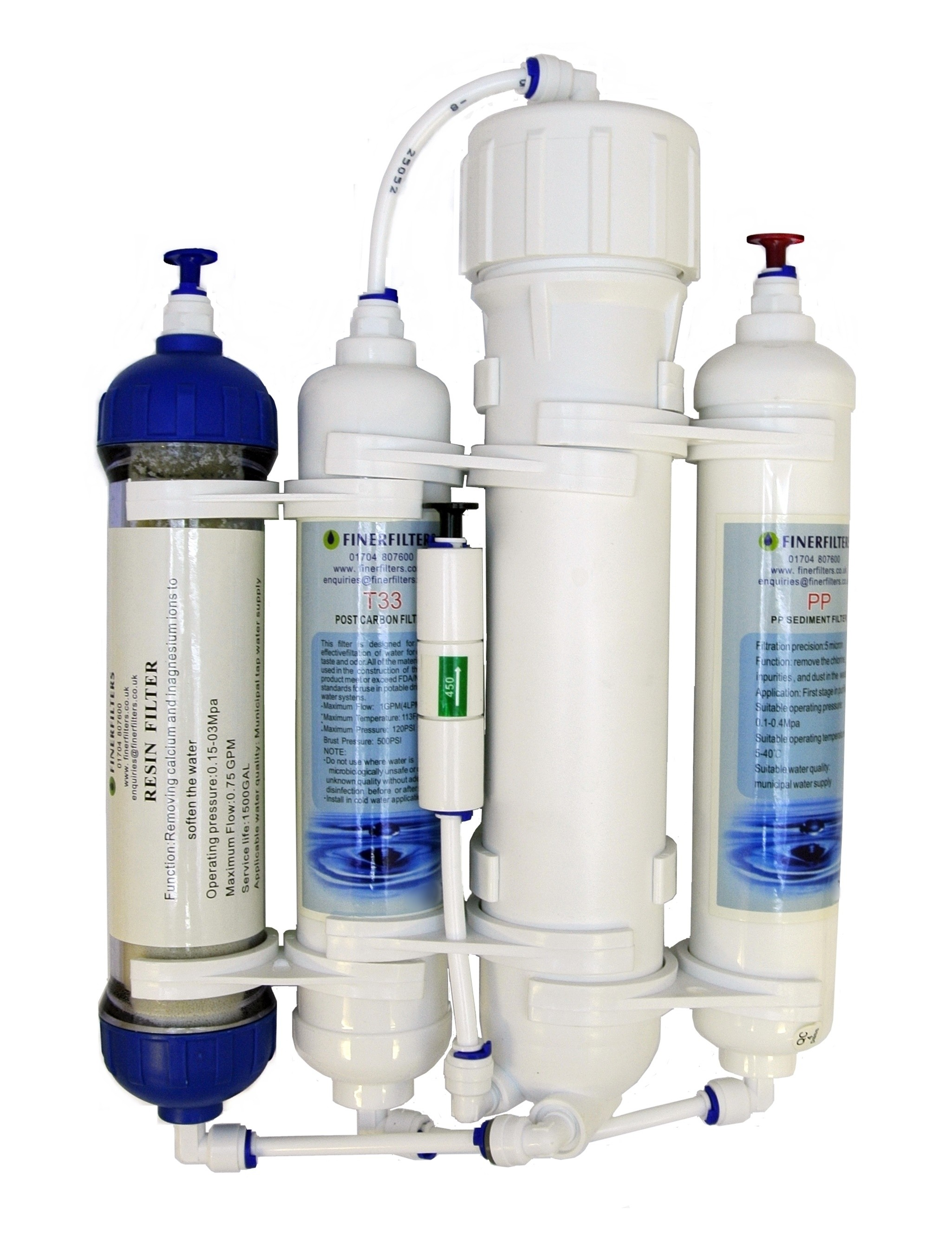75 GPD 4 Stage Compact Reverse Osmosis Unit with DI Chamber for Tropical/Marine/Discus (75 GPD)