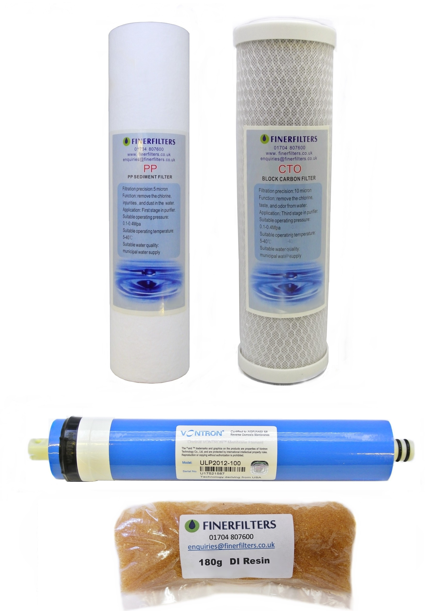 "4 Stage Aquarium Reverse Osmosis 10"" Drop In Replacement Water Filters with 100 GPD Membrane & 180g DI Resin by Finerfilters"