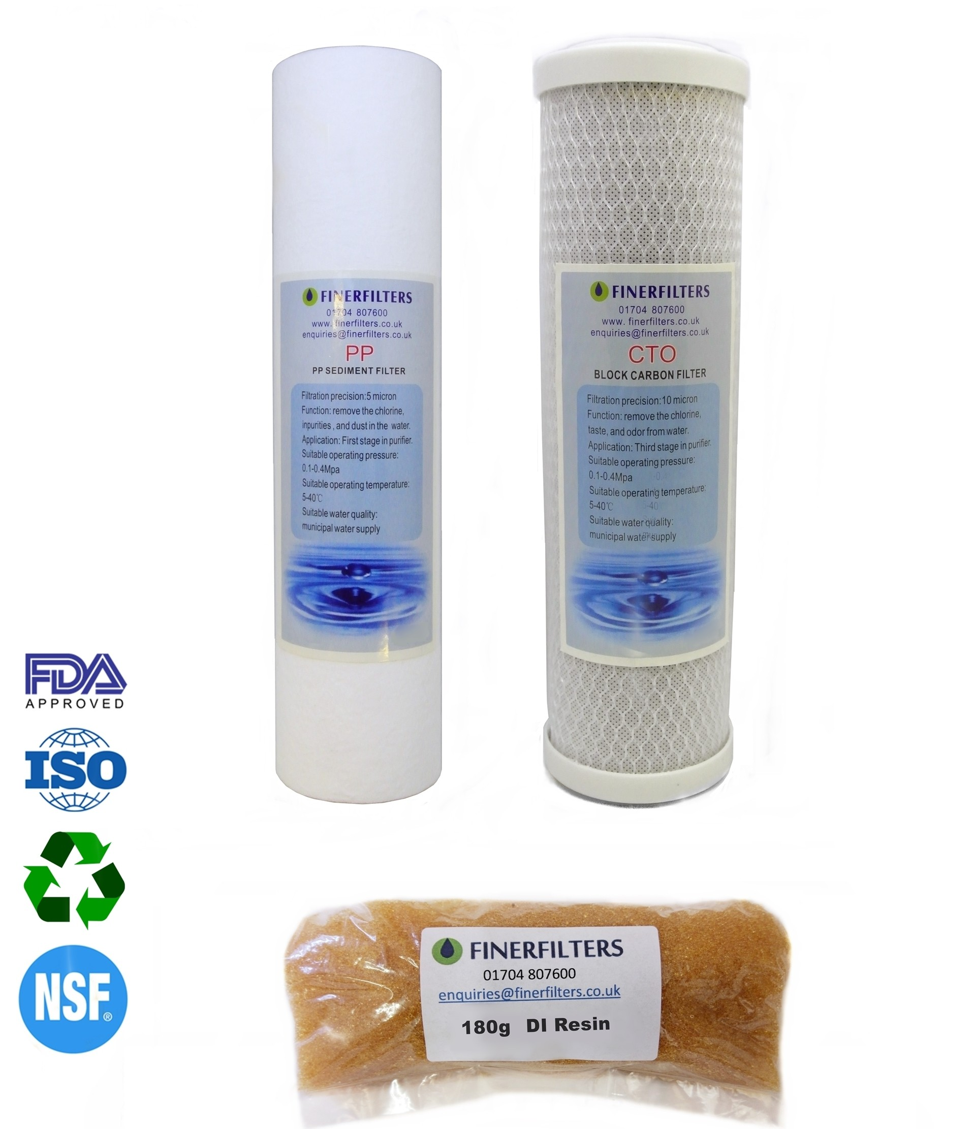 "4 Stage Aquarium Reverse Osmosis 10"" Drop In Replacement Water Filters & 180g DI Resin by Finerfilters"