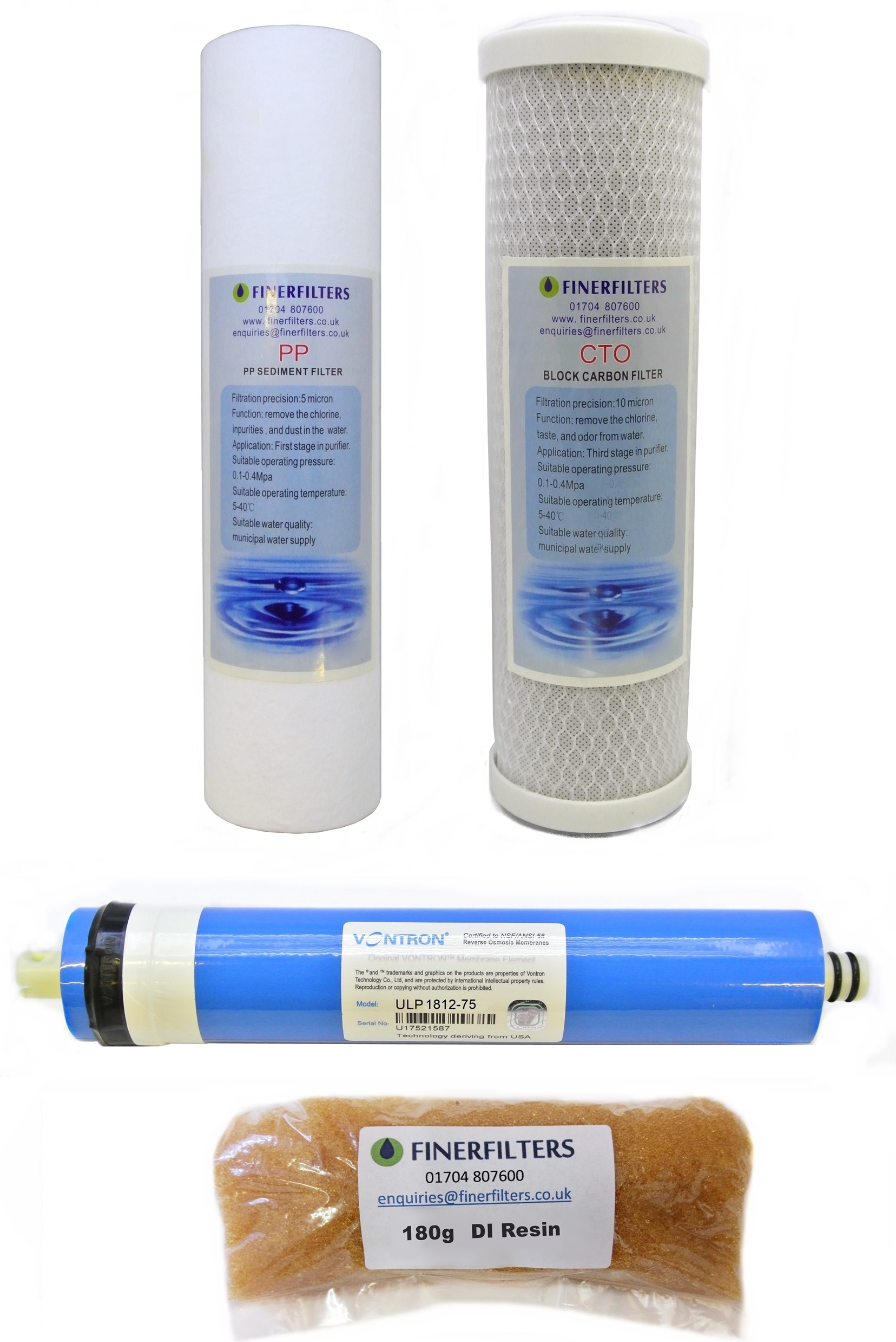 """4 Stage Aquarium Reverse Osmosis 10"""" Drop In Replacement Water Filters with 75 GPD Membrane & 180g DI Resin by Finerfilters"""