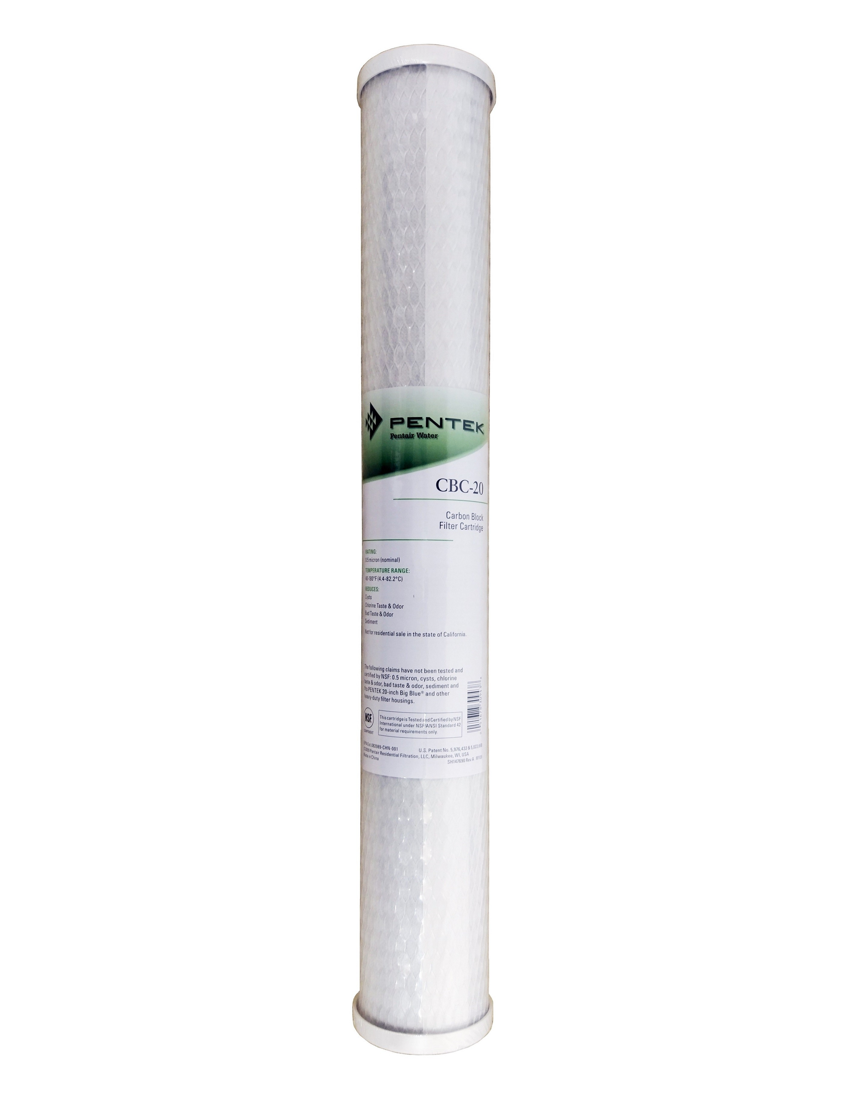"Pentek CBC 20"" 0.5 Micron Carbon Block Water Filter"