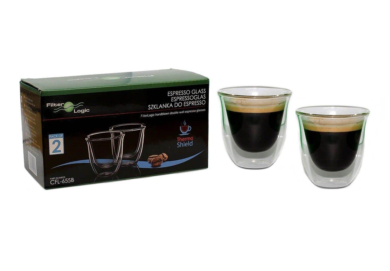 FilterLogic CFL-655B Thermoshield Double Wall Espresso Coffee Glasses (Twin Pack)