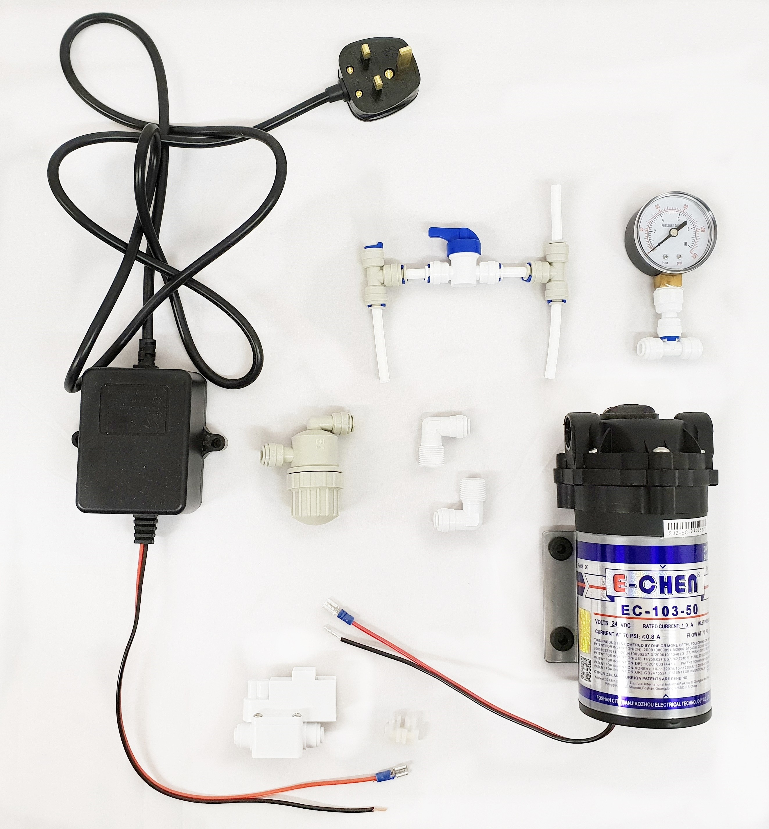 Finerfilters E-Chen Booster Pump Kit including Pump, Pressure Gauge and Pressure Switch (100GPD)