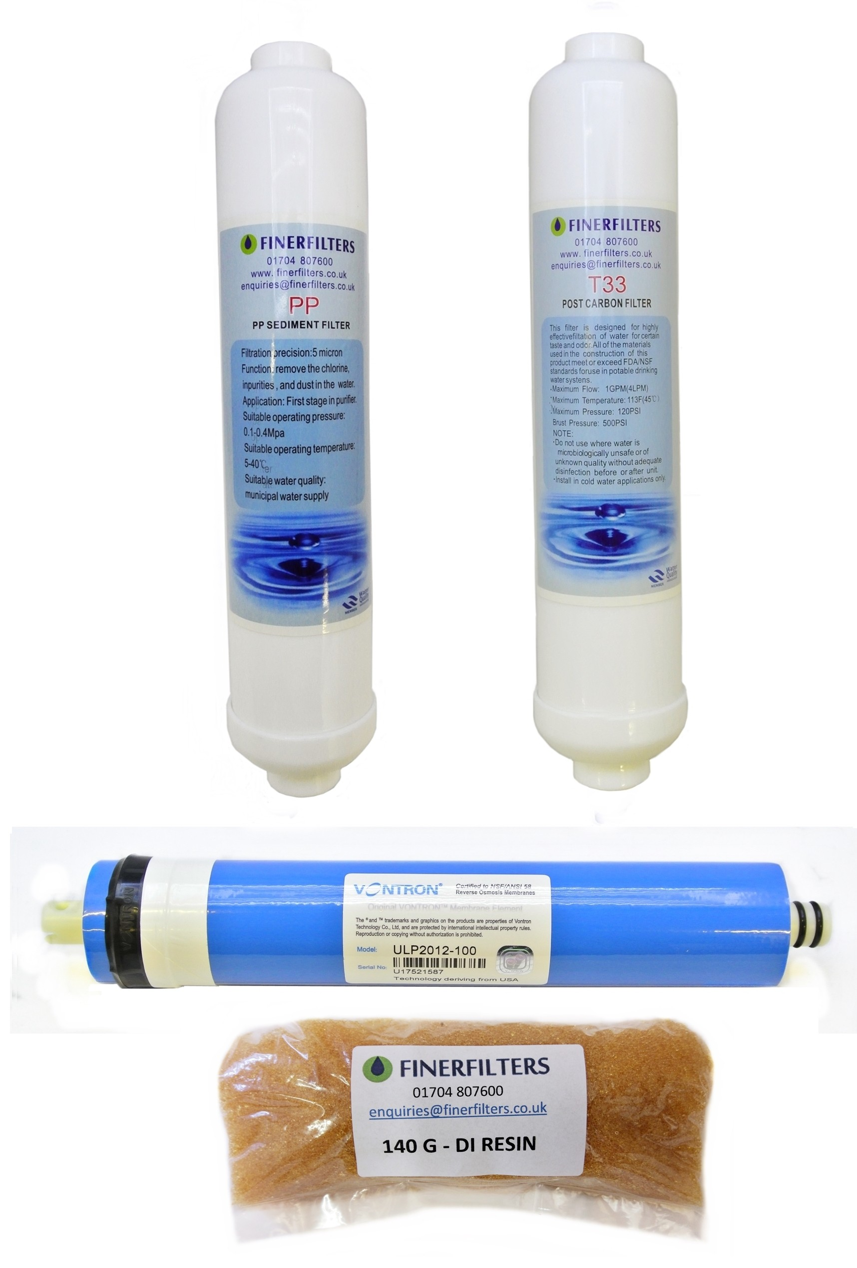 4 Stage Compact Aquarium Reverse Osmosis Replacement Water Filters with 100 GPD Membrane & 180g DI Resin