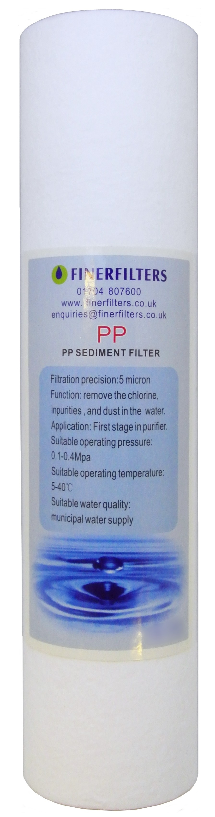 10 Inch 5 Micron Sediment Filter Cartridge - Spun PolyPropylene