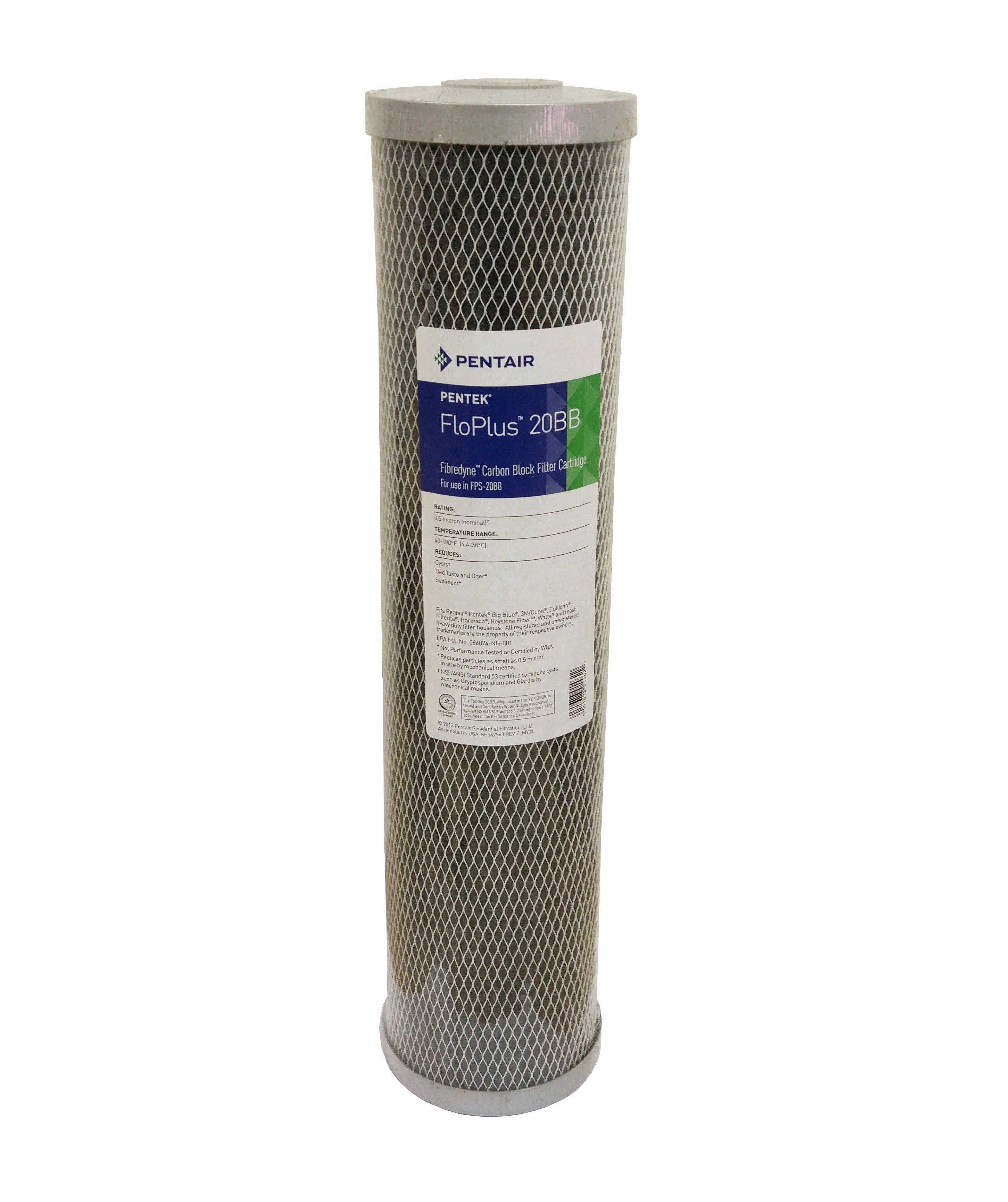 "Pentek FLOPLUS 20"" Jumbo 0.5 Micron Carbon Block Water Filter"