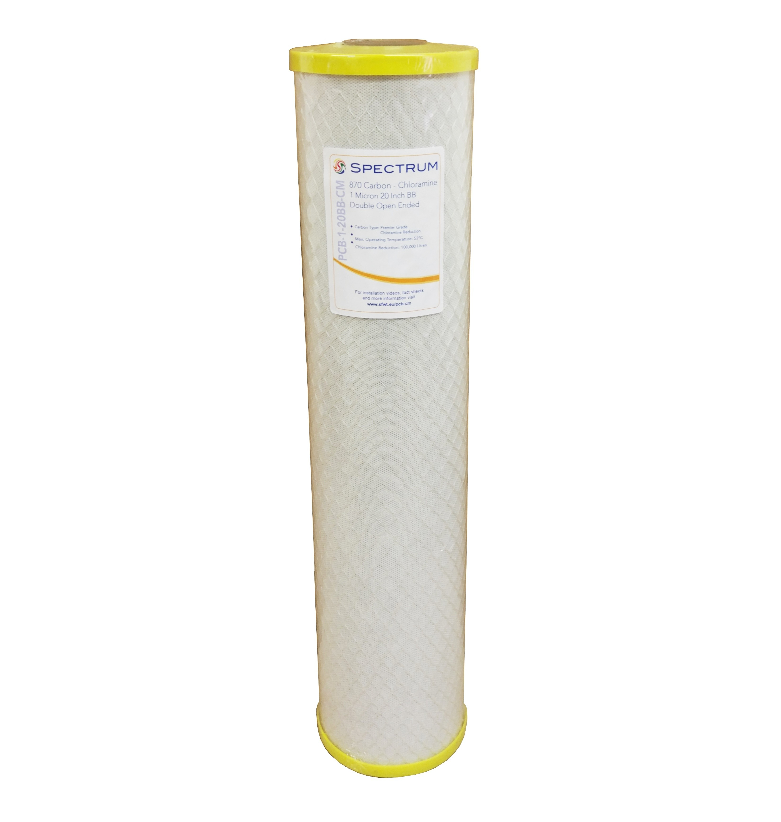 "Spectrum PCB 20"" Jumbo Premier 1 Micron Carbon Block Water Filter"