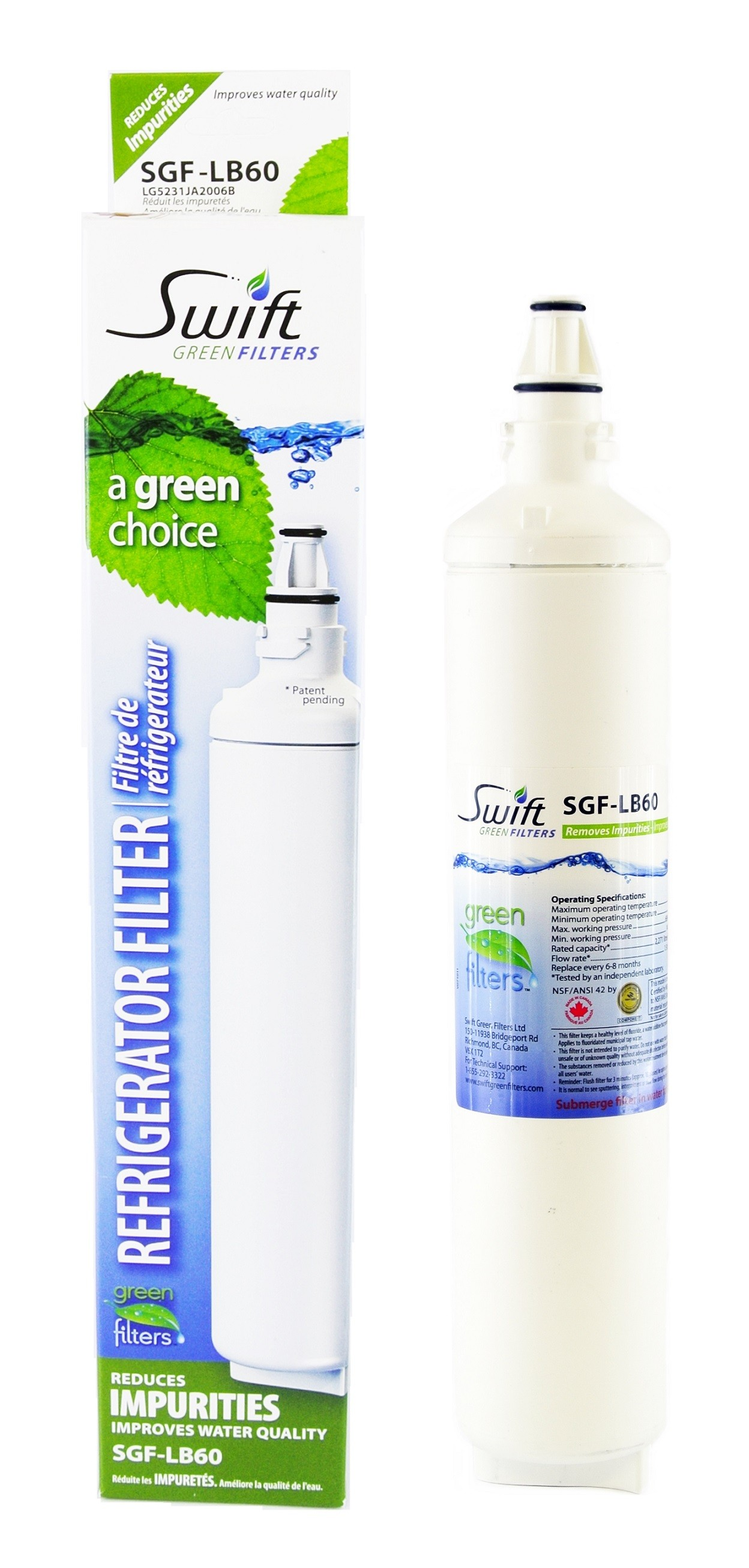 Swift Green LT600P Fridge water filter compatible with LG LT600P