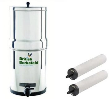 "British Berkefeld Stainless Steel SS2 Gravity Filter System (W9361151) Complete With  2 x 7"" ATC Super Sterasyl (Heavy Metal Reduction) Water Filters"