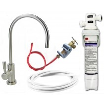 3M Drinking Water Filter Kit (Bacteria Rated Filter) Full DIY System with Deluxe Brushed Nickel Tap