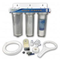 "3 Stage 10"" HMA Heavy Metal Reduction, Pond Dechlorinator Water Filter System with 1/4"" connections"