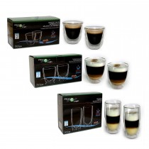 FilterLogic Thermoshield Double Walled Mixed Coffee Glass Gift Set - Cappuccino, Espresso & Latte Glasses