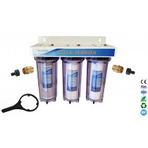 "3 Stage 10"" HMA Heavy Metal Reduction, Pond Dechlorinator Water Filter System with Hozelock Adapter"