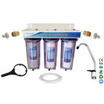 "Finerfilters 3 Stage HMA 10"" Drinking Water Filter System with ¼"" fittings"