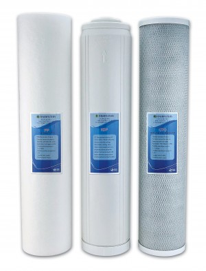 "Finerfilters 20"" Jumbo HMA Heavy Metal Removal Replacement Filter Pack – PP, GAC/KDF, CTO"