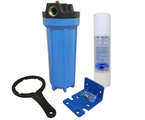 "10"" Standard Filter Blue Housing with 3/4"" ports, Pressure Reducing Valve and Sediment filter"