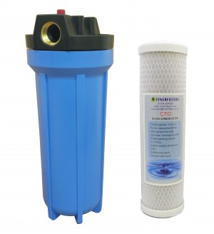 "10"" Standard Filter Blue Housing with 3/4"" Ports, Pressure Reducing Valve and Carbon Block Filter"
