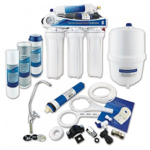 Finerfilters 5 Stage Domestic Reverse Osmosis Under Sink System with Diaphragm Booster Pump (50 GPD)