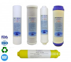 """6 Stage Reverse Osmosis 10"""" Replacement Filter Pack with Inline DI Resin Post Filter by Finerfilters"""