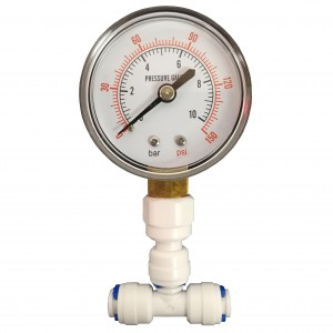 """Pressure Gauge for Reverse Osmosis Systems with 1/4"""" connection by Finerfilters"""