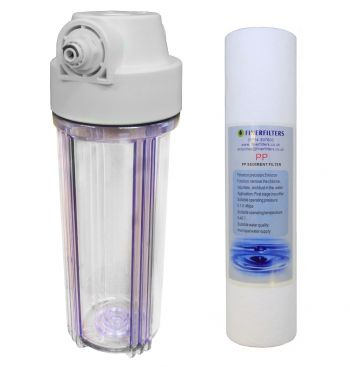 "10"" Standard Clear Water Filter Housing with 1/2"" Female Ports & 5 Micron Sediment Filter (Fittings Included for 1/4"" Push Fit Connection)"