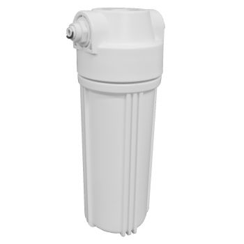 "10"" Standard White Water Filter Housing with 1/2"" Female Ports (Fittings Included for 1/4"" Push Fit Connection)"