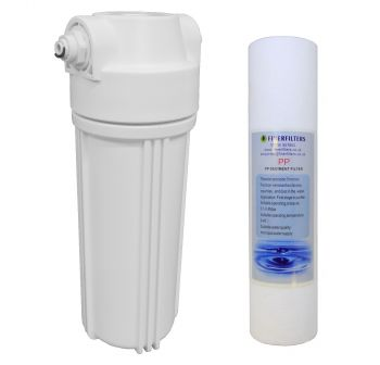 "10"" Standard White Water Filter Housing with 1/2"" Female Ports & 5 Micron Sediment Filter (Fittings Included for 1/4"" Push Fit Connection)"