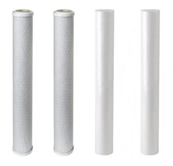 "Finerfilters 20"" Replacement Pre Filter set Sediment Carbon Pole Fed Window Cleaning RO 4 pack"