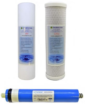"3 Stage Aquarium Reverse Osmosis 10"" Drop In Replacement Water Filter Pack (PP & CTO) and 50 GPD Membrane by Finerfilters"