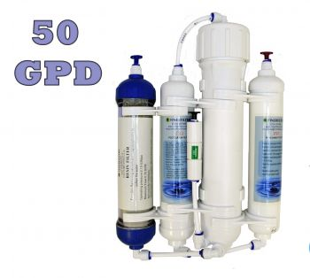 4 Stage Compact Aquarium Reverse Osmosis 50 GPD Unit with Inline DI Resin Chamber for Tropical, Marine & Discus Fish