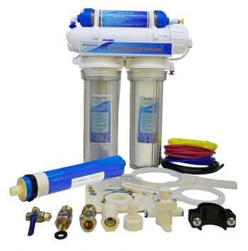 Finerfilters 4 Stage Aquarium Reverse Osmosis Unit 50GPD - Drop In Style with Refillable DI Resin Chamber For Marine, Tropical and Discus Fish