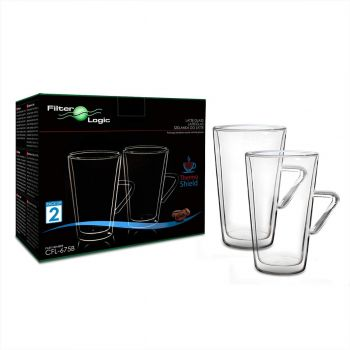 CFL-675B ThermoShield Double Wall Latte Glasses with Handle by FilterLogic