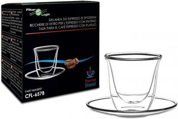 CFL-657B ThermoShield Double Wall Espresso Glass with Saucer by FilterLogic