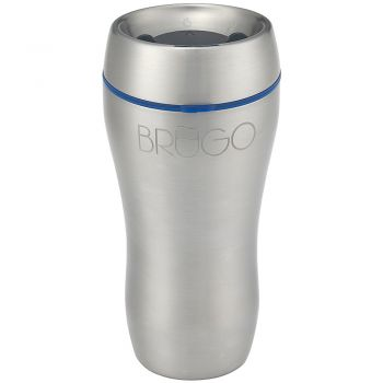 BruGo™ Leak Proof Insulated Travel Mug - Steel - Aqua Blue