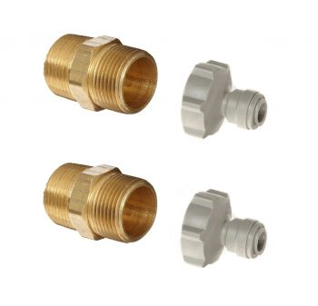 "Water Filter Housing to Push Fit Adapter ¦ 3/4"" Brass Hex Nipple & 3/4"" BSP x 1/4"" Pushfit Fittings x 2"