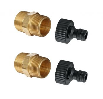 "Garden Hose Tap Connector Fittings for 3/4"" Systems ¦ 3/4"" Brass Hex Nipple & Hozelock Style Fitting x 2"