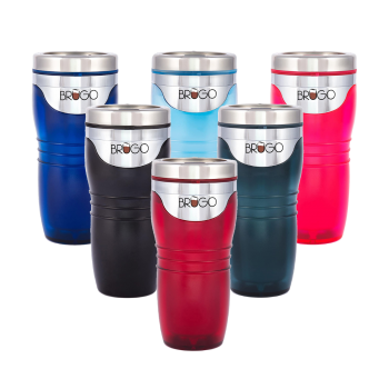 BruGo Leak Proof Insulated Travel Mug with Built-In Temperature Control Chamber in Retro Colour