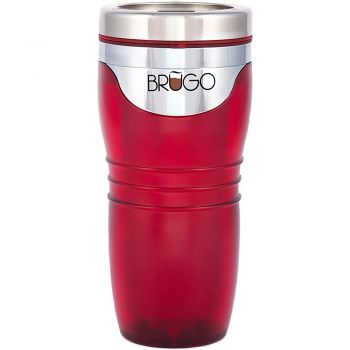 BruGo™ Leak Proof Insulated Travel Mug - Retro - Ruby Red